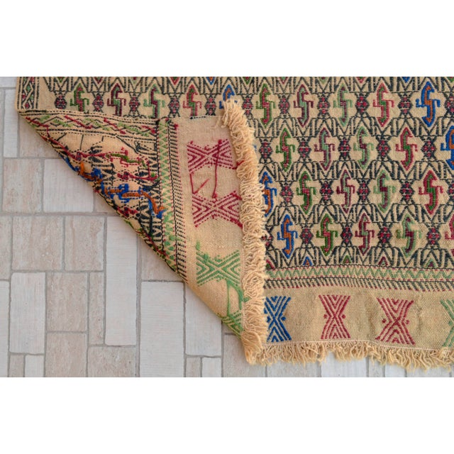 "Taupe Vintage Braided Kilim Rug Turkish Hand Woven WoolRug Sofreh - 3' X 3'10"" For Sale - Image 8 of 9"
