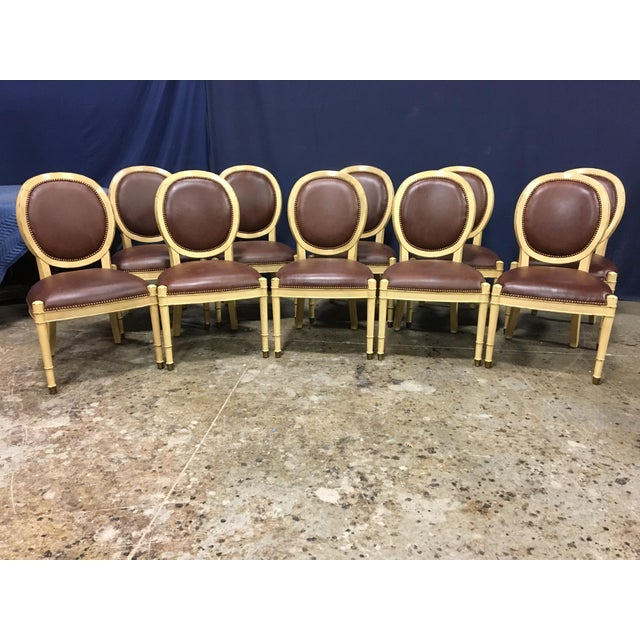 Contemporary Baker Oval Back Side Chairs - Set of 10 For Sale - Image 3 of 12