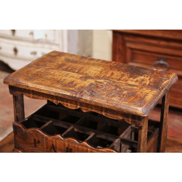 """Old French Pine 15 Wine Bottle Storage Cabinet With """"Paris"""" Inscription For Sale - Image 4 of 8"""