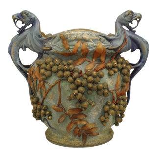 Austrian Monumental Blue/Green Amphora Jardiniere For Sale