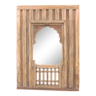 Antique 19th Century Haveli Arched Mirror For Sale