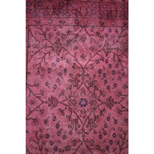 Rosa Vintage Overdye Pink Rug - 3′10″ × 7′ - Image 3 of 4