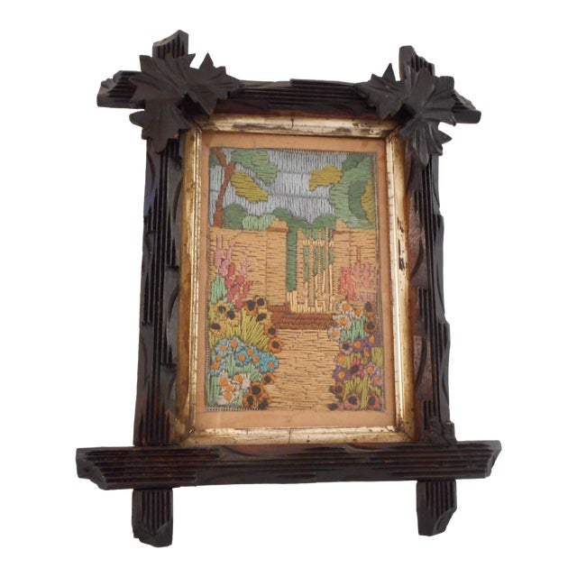 Arts & Crafts - Victorian Silk Embroidery Picture in Black Forest Frame For Sale