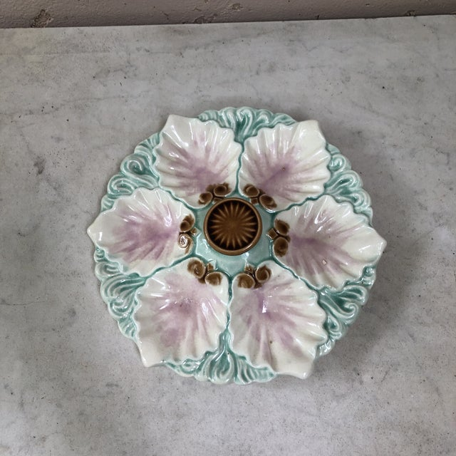 Orchies Majolica Handled Oyster Plate Orchies, Circa 1890 For Sale - Image 4 of 9