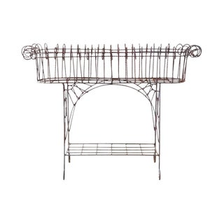 French Art Nouveau Faux-Rope Wire Plant Stand For Sale