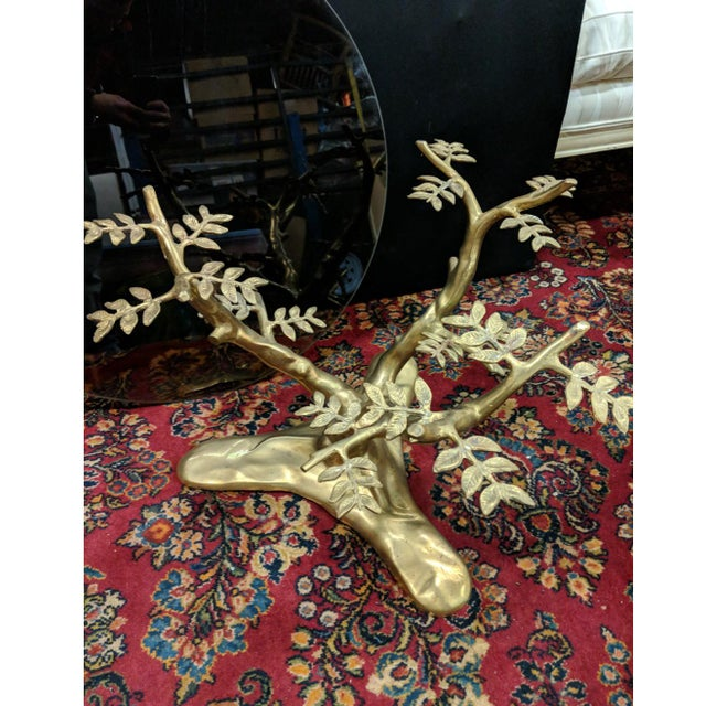 Metal Willie Daro Inspired Mid Century Modern Brass Tree Leaves Glass Top Table Set of 2 For Sale - Image 7 of 9