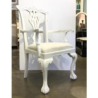 Modern White Lacquer Chippendale Side Chairs Pair Preview