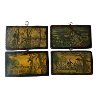 Revolutionary War Vintage Decorative Wood Wall Plaques - Set of 4 For Sale