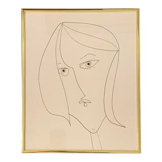 Contemporary Portrait of a Lady Ink Drawing, Framed For Sale