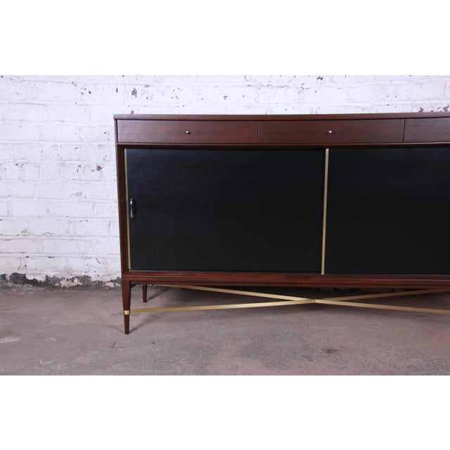 Paul McCobb Calvin Group Mahogany and Brass Credenza For Sale - Image 9 of 13