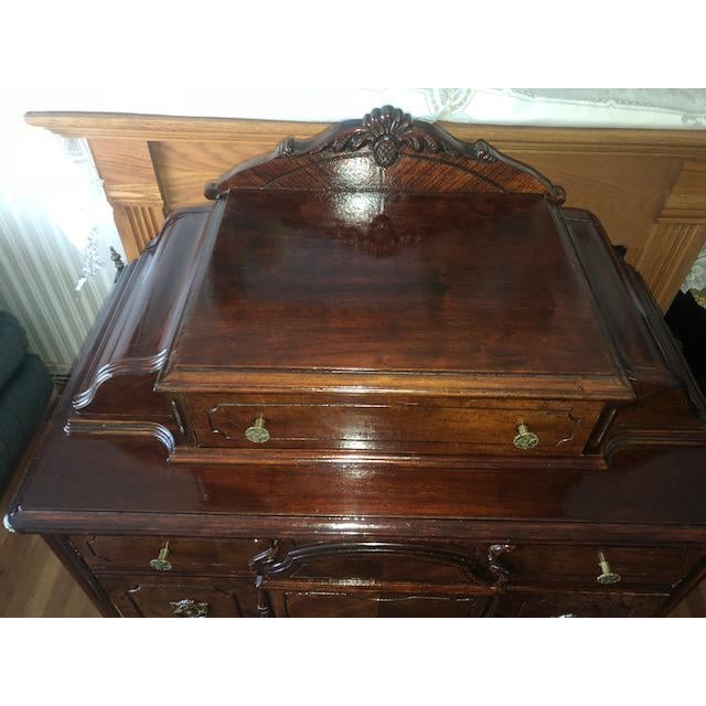 Antique 1930's Burled Walnut Dresser Chest Bureau With Mounted Glove Box For Sale - Image 9 of 13