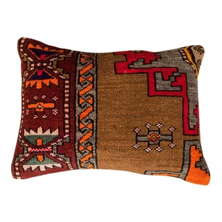 Vintage Luxury Wool Red & Brown Sofa Pillow For Sale