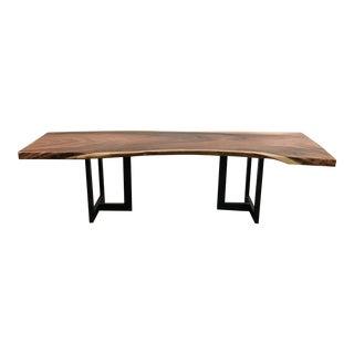 Contemporary Live Edge Acacia Wood Slab Table