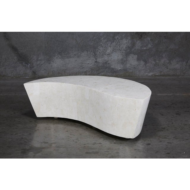 "Freeform ""Hampton"" cocktail or coffee table. Fiberglass body fully hand-inlaid with tessellated white ivory stone."
