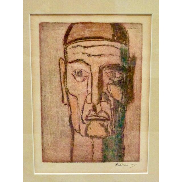 Abstract Original Cubist Movement Block Print Portrait For Sale - Image 3 of 9