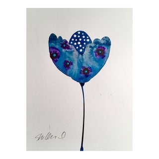 Smurf Botanical Original Watercolor Painting For Sale