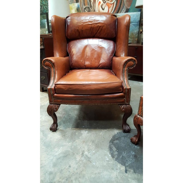 Fabulous Schafer Brothers Leather Wing Chairs Pair Machost Co Dining Chair Design Ideas Machostcouk