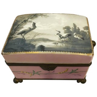 Hand-Painted Porcelain Casket Box For Sale