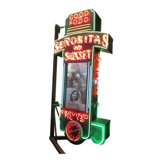 1920's Antique Art Deco Neon Señorita's on Sunset Restaurant Sign For Sale