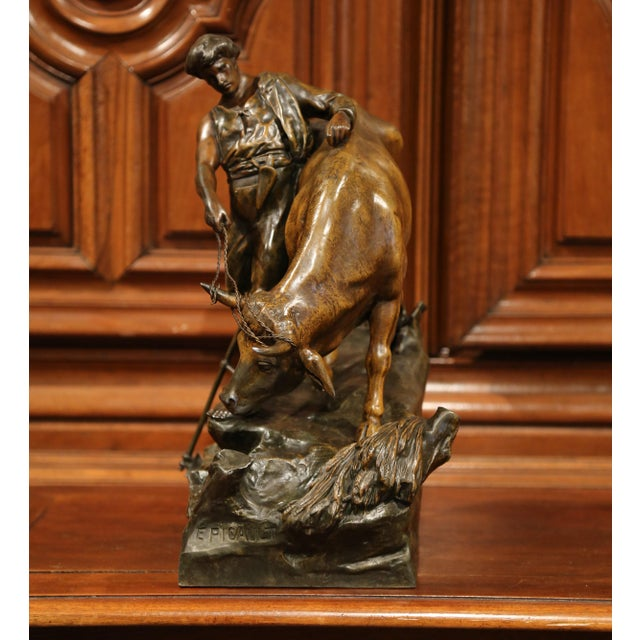 19th Century French Patinated Spelter Sculpture with Bull Signed E. Picault For Sale - Image 4 of 11