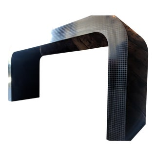 Vintage 1980's Black Laminate With Grid Pattern Waterfall Console Table