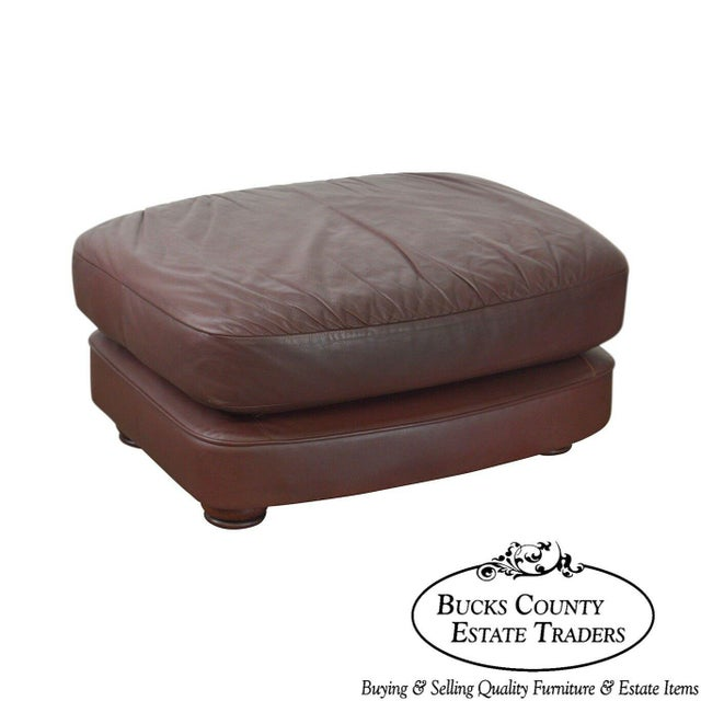 Classic Leather Bun Foot Russet Brown Leather Ottoman For Sale - Image 13 of 13