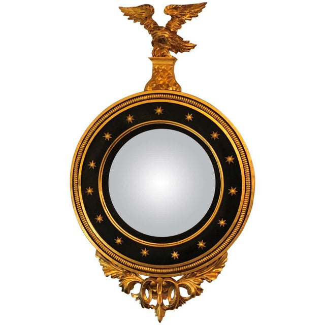 Late 19th Century Regency Carved and Ebonized Giltwood Bullseye Convex Mirror For Sale - Image 11 of 11