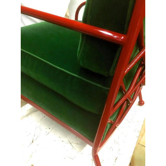 Jean Royère Jean Royère Pair of Croisillon Armchairs in Red Lacquered Wrought Iron For Sale - Image 4 of 9