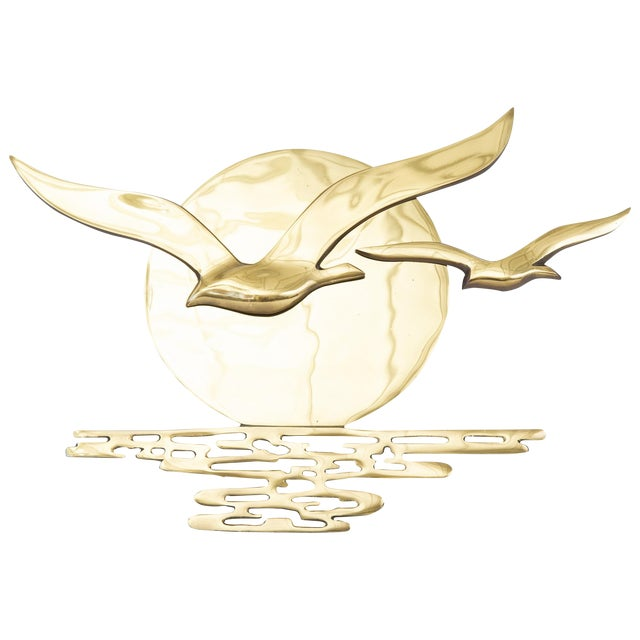 Vintage Brass Seagulls in the Sun Plaque - Image 1 of 11