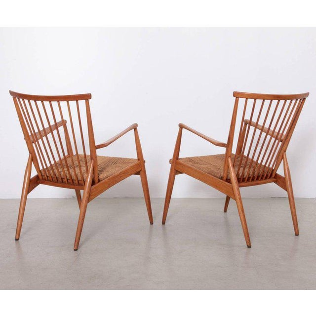 Mid-Century Modern Pair of German Studio Lounge Chairs in Ash and Papercord For Sale - Image 3 of 8