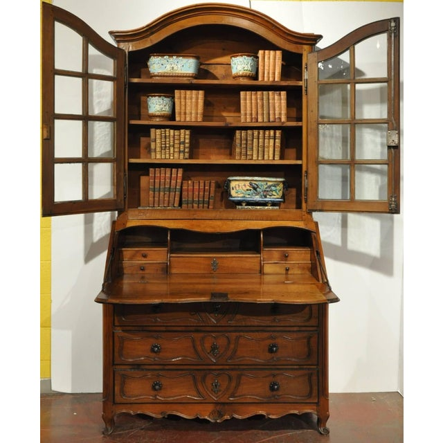 French 18th Century French Louis XV Carved Walnut Secretary Bookcase For Sale - Image 3 of 8
