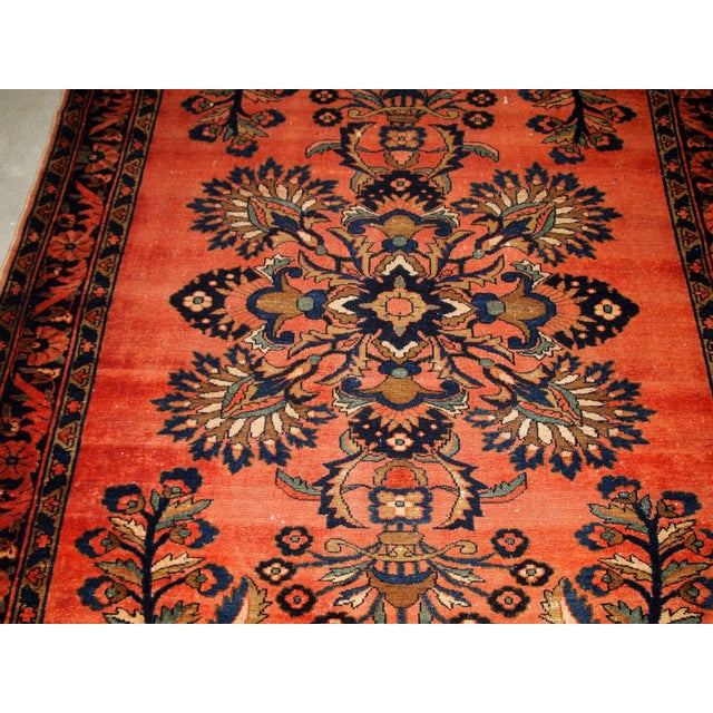 Navy Blue 1920s, Handmade Antique Persian Lilihan Rug 5.3' X 7.2' For Sale - Image 8 of 10