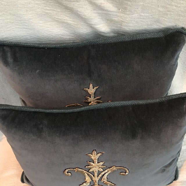 Metallic Silver Appliqué Velvet Pillows - A Pair - Image 4 of 5