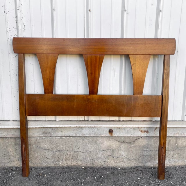 1960s Mid-Century Walnut Twin Headboard and Footboard For Sale - Image 5 of 13