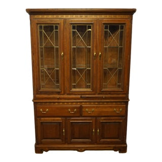 Vintage Richardson Brothers Traditional Style Cherry Lighted Display Cabinet For Sale