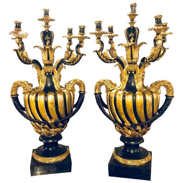 Pair of Monumental Italian Antique Ebony and Gilt Urn Sconces or Candelabras For Sale