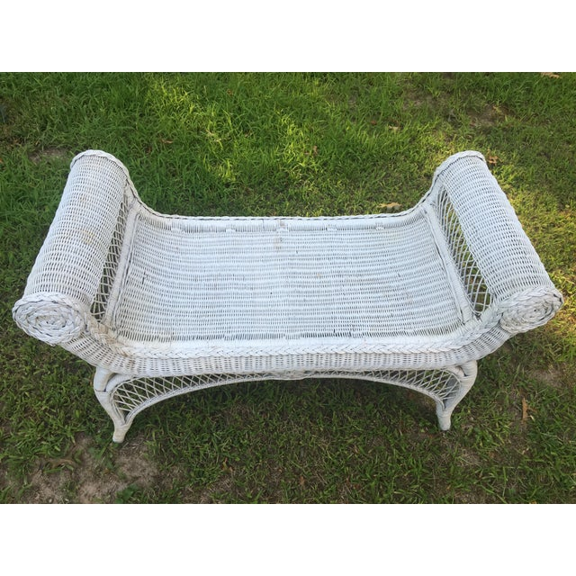 Vintage Scrolled Arm Wicker Bench - Image 3 of 6
