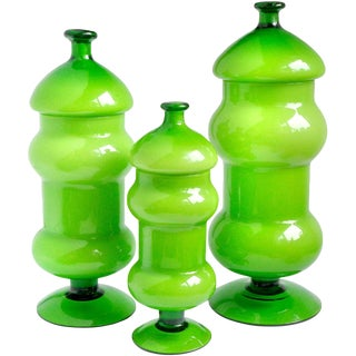 Empoli Bright Green White Italian Art Glass Vintage Mid Century Container Set For Sale