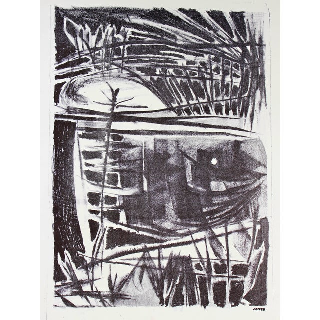 This circa late 1940s- early 1950s black and white stone lithograph on paper is by California artist Jerry Opper...