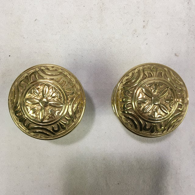 Metal Antique Style Eastlake Heavy Brass Doorknobs - a Pair For Sale - Image 7 of 7