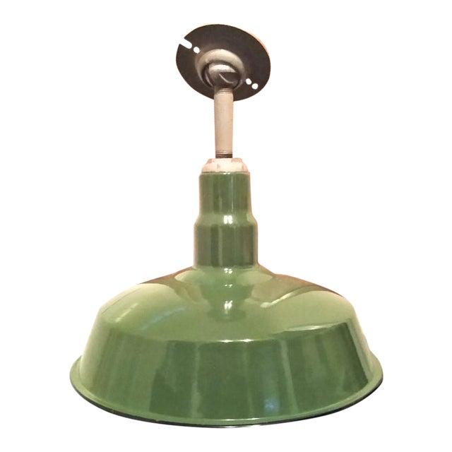 Vintage Green Enameled Metal Pendant Light For Sale