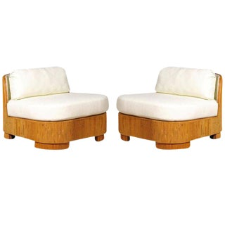 Exemplary Pair of Restored Large-Scale Vintage Bamboo Slipper Loungers For Sale