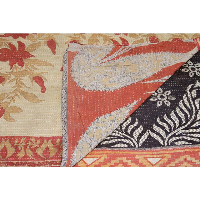 Red and Ebony Vintage Kantha Throw - Image 2 of 4