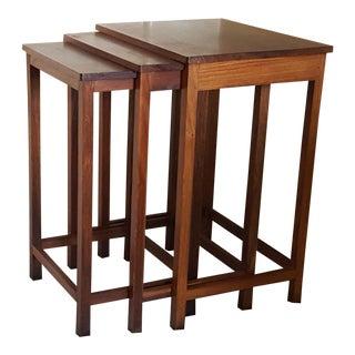 Vintage Retro India Chamarajendra Academy of Visual Arts Rosewood Nesting Tables - Set of 3