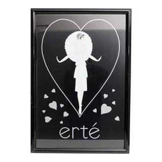 Vintage Erte' Framed Poster Print Fashion Hearts Black White Gray 1980s For Sale