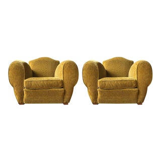 Pair of French Art Deco Style Armchairs in Gold Velvet