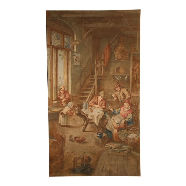 Large 19th Century French Hand-Painted Canvas on Stretcher After David Teniers For Sale