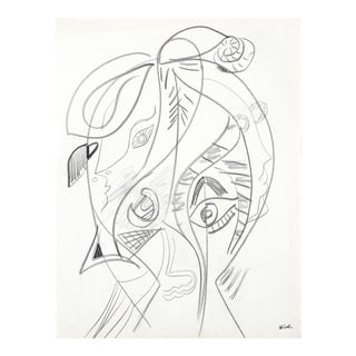 Modernist Abstracted Figure in Graphite, 20th Century