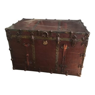 Vintage Industrial Leather & Brass Steamer Trunk For Sale