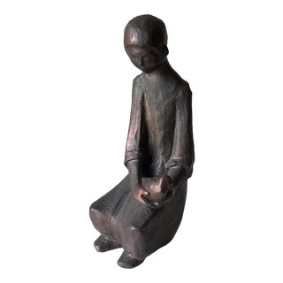 Mid 20th Century Modernist Sculpture of Young Woman and Bird For Sale